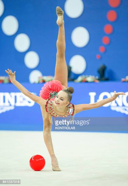 Russian Arina Averina performs the ball exercise during the FIG 35th Rhytmic Gymnastic World Championship in Pesaro