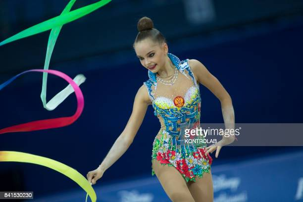 Russian Arina Averina performs the ribbon exercise during the FIG 35th Rhytmic Gymnastic World Championship