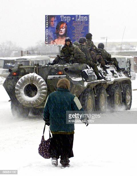 Russian army armored personnel carrier patrol a street in Grozny 27 January 2006 Several regions of Chechnya including parts of its capital Grozny...
