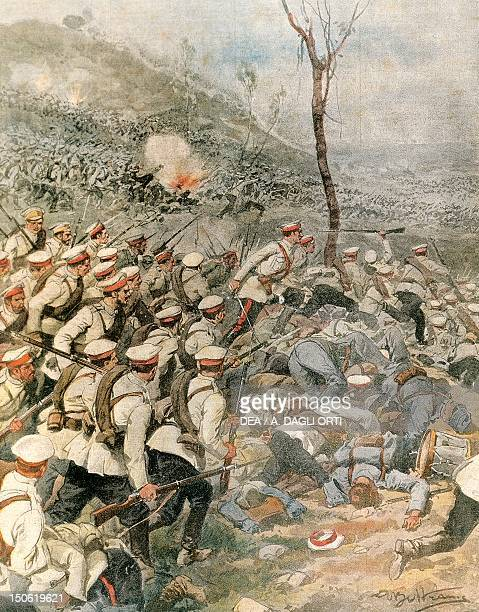 Russian army troops invading Prussia 1914 By Achille Beltrame illustration from La Domenica del Corriere