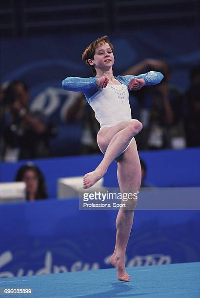 Russian artistic gymnast Anna Chepeleva pictured in action competing for Russia on the floor exercise during competition in the Women's artistic team...