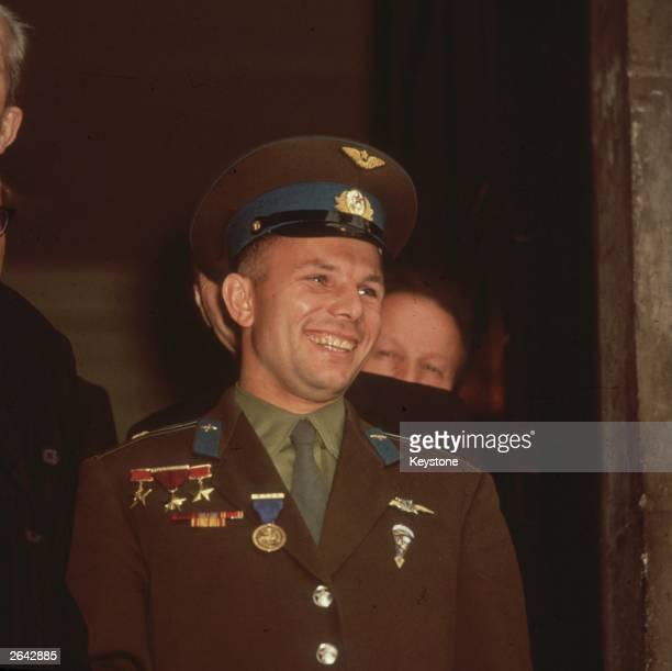 Russian astronaut Yuri Gagarin taken during his visit to Admiralty House where he met Harold Macmillan