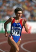 Russian athlete Olga Nazarova competes in the Women's 400 metres at the World Championships in Gothenburg 1995