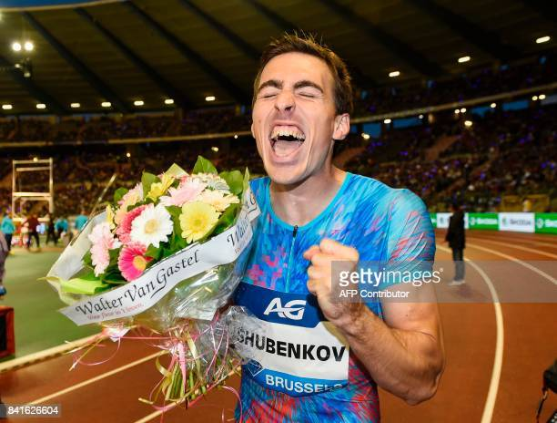 Russian athlete Sergey Shubenkov celebrates after winning the Men's 110 m Hurdles event during the AG Insurance Memorial Van Damme athletics event...