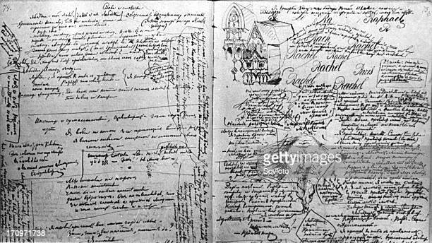 Russian author fyodor dostoyevsky's speech on the poet alexander pushkin with the writer's doodles and embellishments