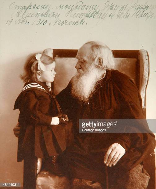 Russian author Leo Tolstoy with his granddaughter Tatiana Yasnaya Polyana Russia c1910 Tolstoy is widely regarded as one of the greatest of all...