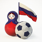 Russian Babushka doll with football ball and Russian Flag. 3d Rendering isolated on white background.