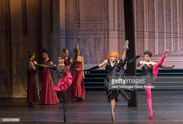 Russian ballerinas Margarita Frolova as the stepsister 'Khudishka' Yekaterina Kondaurova as the 'Stepmother' and Yekaterina Ivannikova as the...