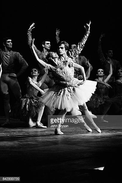 Russian ballet dancer and choregrapher Rudolf Nureyev dancing Raymonda with the Australian Ballet Company and British dancer Margot Fonteyn at the...
