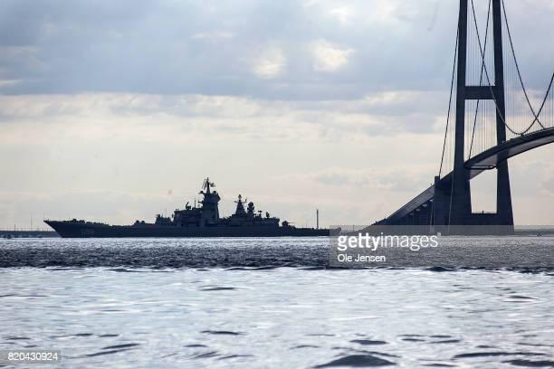 Russian battlecruiser 'Pjotr Velikij' passes the Great Belt Bridge as it leads nuclear submarine 'Dmitrij Donskoj' through the Danish waters on July...
