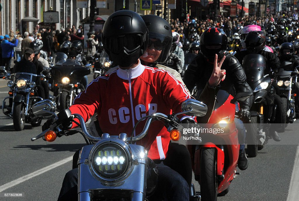Russian bikers drive in motorcade celebrating the opening of riding season on Nevsky prospekt in Saint-Petersburg, Russia, on May 2, 2016.