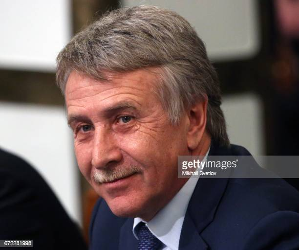 Russian billiinaire and businessman Leonid Mikhelson attends an annual meeting with the Russian Geographic Society April 24 2017 in Saint Petersurg...
