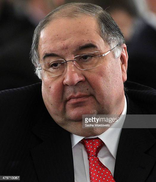 Russian billionaire and businessman Alisher Usmanov attends a congress of Russian Union of Industrialists and Entrepreneurs on March 20 2014 in...