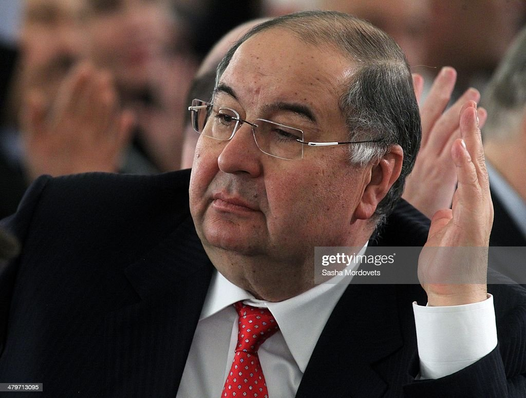 Russian billionaire and businessman <a gi-track='captionPersonalityLinkClicked' href=/galleries/search?phrase=Alisher+Usmanov&family=editorial&specificpeople=5595265 ng-click='$event.stopPropagation()'>Alisher Usmanov</a> attends a congress of Russian Union of Industrialists and Entrepreneurs on March 20, 2014 in Moscow, Russia.