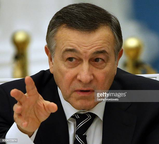 Russian billionaire and businessman Aras Agalarov attends a meeting of Presidential Council on Sport and Physical Cutlure to review...