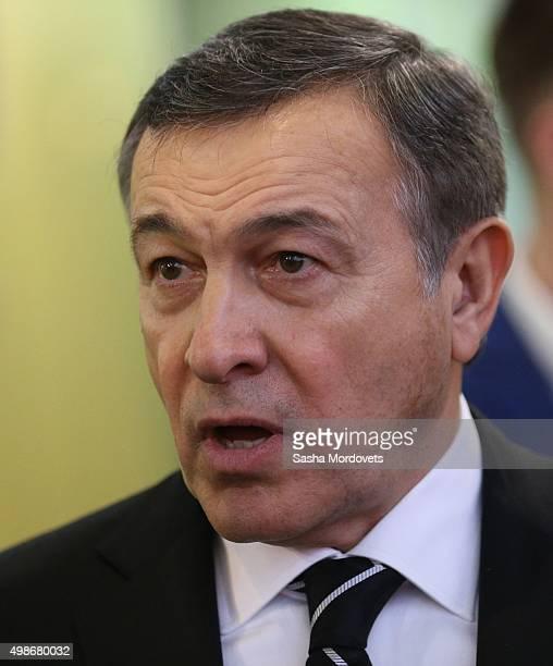 Russian billionaire and businessman Aras Agalarov speaks during the opening of the Yeltsin Center on November 25 2015 in Nizhny Tagil near...