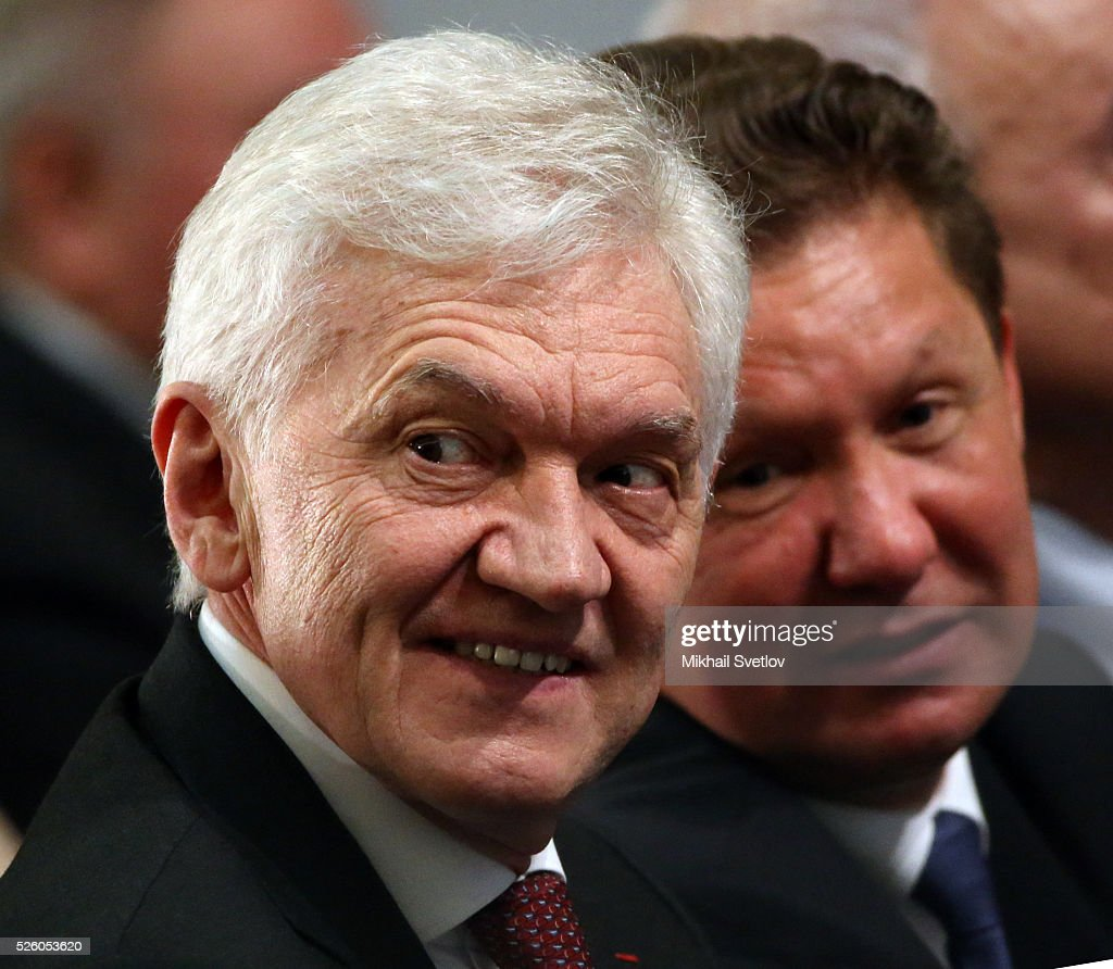 Russian billionaire and businessman <a gi-track='captionPersonalityLinkClicked' href=/galleries/search?phrase=Gennady+Timchenko&family=editorial&specificpeople=10841361 ng-click='$event.stopPropagation()'>Gennady Timchenko</a> (L) and Gazprom's CEO <a gi-track='captionPersonalityLinkClicked' href=/galleries/search?phrase=Alexei+Miller&family=editorial&specificpeople=713081 ng-click='$event.stopPropagation()'>Alexei Miller</a> (R) attend the meeting of the Board of Trustees of the Russian Geographic Society on April 29, 2016 in Saint Petersburg, Russia. Putin is on a trip to Saint Petersburg.