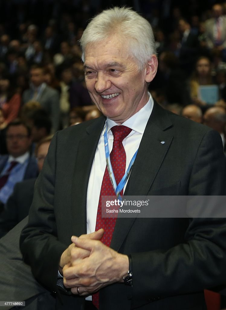 Russian billionaire and businessman <a gi-track='captionPersonalityLinkClicked' href=/galleries/search?phrase=Gennady+Timchenko&family=editorial&specificpeople=10841361 ng-click='$event.stopPropagation()'>Gennady Timchenko</a> attends the plenary session of the St. Petersburg Economic Forum in June 19, 2015 in Saint Petersburg, Russia. Russian President Vladimir Putin spoke during the plenary session.
