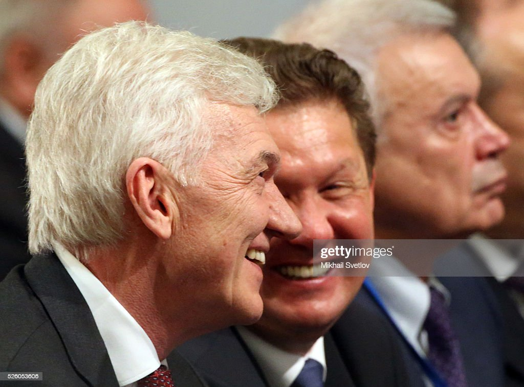 Russian billionaire and businessman <a gi-track='captionPersonalityLinkClicked' href=/galleries/search?phrase=Gennady+Timchenko&family=editorial&specificpeople=10841361 ng-click='$event.stopPropagation()'>Gennady Timchenko</a>, Gazprom's CEO <a gi-track='captionPersonalityLinkClicked' href=/galleries/search?phrase=Alexei+Miller&family=editorial&specificpeople=713081 ng-click='$event.stopPropagation()'>Alexei Miller</a> and President of Lukoil Vagit Alekperov attend the meeting of the Board of Trustees of the Russian Geographic Society on April 29, 2016 in Saint Petersburg, Russia. Putin is on a trip to Saint Petersburg.