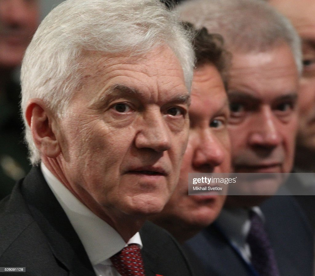Russian billionaire and businessman <a gi-track='captionPersonalityLinkClicked' href=/galleries/search?phrase=Gennady+Timchenko&family=editorial&specificpeople=10841361 ng-click='$event.stopPropagation()'>Gennady Timchenko</a>, Gazprom's CEO <a gi-track='captionPersonalityLinkClicked' href=/galleries/search?phrase=Alexei+Miller&family=editorial&specificpeople=713081 ng-click='$event.stopPropagation()'>Alexei Miller</a> and President of Lukoil Vagit Alekperov attend the meeting of the Board of Trustees of the Russian Geographic Society in April 29, 2016 in Saint Petersburg, Russia. Putin is on a trip to Saint Petersburg.