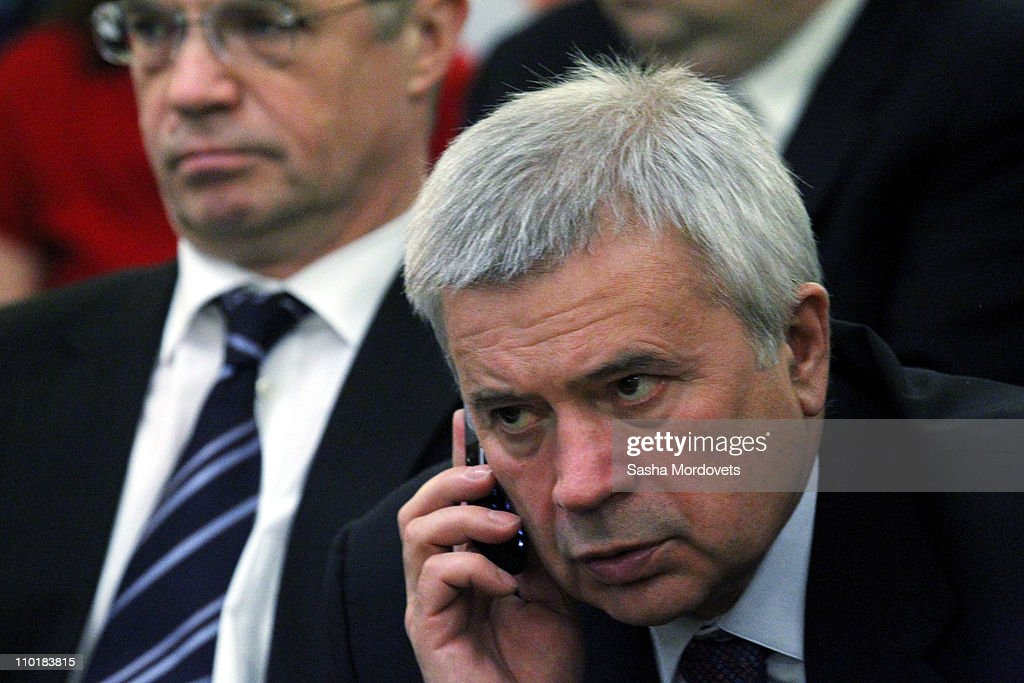 Russian billionaire and businessman, Lukoil CEO Vagit Alekperov (R) and Director-General of Gazprom export <a gi-track='captionPersonalityLinkClicked' href=/galleries/search?phrase=Alexander+Medvedev&family=editorial&specificpeople=671477 ng-click='$event.stopPropagation()'>Alexander Medvedev</a> (L) are seen at the Kremlin Palace March, 16, 2011 in Moscow, Russia. Russian President Dmitry Medvedev met with Turkish Prime Minister Recep Tayyip Erdogan,, who is on a two-day working visit to Moscow to discuss relations between the two countries.