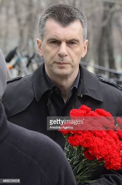 Russian billionaire and businessman Mikhail Prokhorov attends a farewell ceremony for slain Russian opposition leader Boris Nemtsov at Saharovsky...