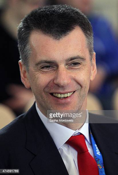 Russian billionaire and businessman Mikhail Prokhorov smiles during an awards ceremony for Russian Olympic athletes on February 24 2014 in Sochi...