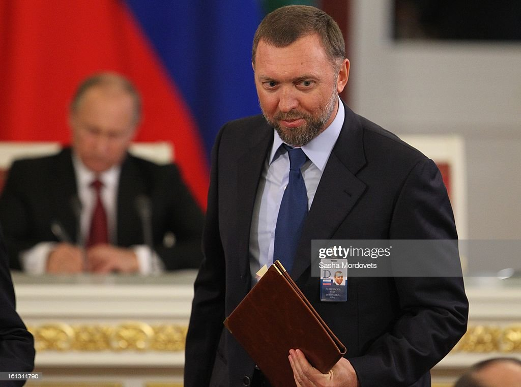 Russian billionaire and businessman <a gi-track='captionPersonalityLinkClicked' href=/galleries/search?phrase=Oleg+Deripaska&family=editorial&specificpeople=5574016 ng-click='$event.stopPropagation()'>Oleg Deripaska</a> attends a meeting with Chinese President Xi Jinping and Russian President <a gi-track='captionPersonalityLinkClicked' href=/galleries/search?phrase=Vladimir+Putin&family=editorial&specificpeople=154896 ng-click='$event.stopPropagation()'>Vladimir Putin</a> in the Grand Kremlin Palace March 22, 2013 in Moscow, Russia, Xi is making his first foreign visit as China's leader in a move described as demonstrating the two countries' economic interdependence.