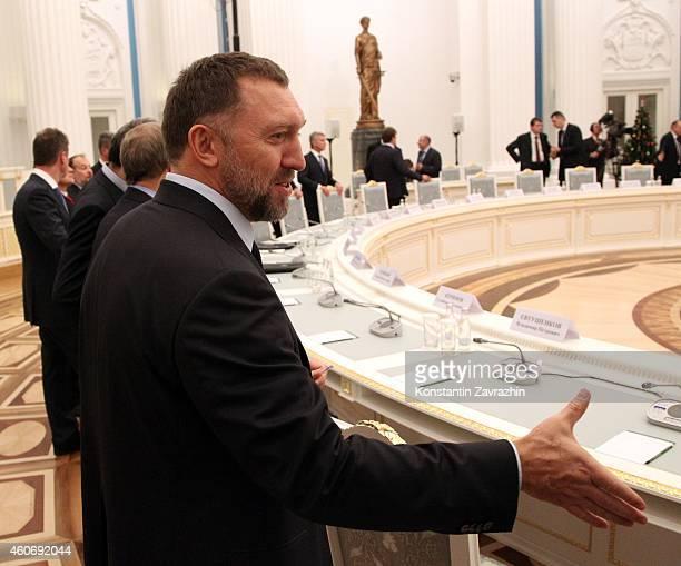 Russian billionaire and businessman Oleg Deripaska attends a meeting with Russian President Vladimir Putin in the Kremlin on December 19 2014 in...