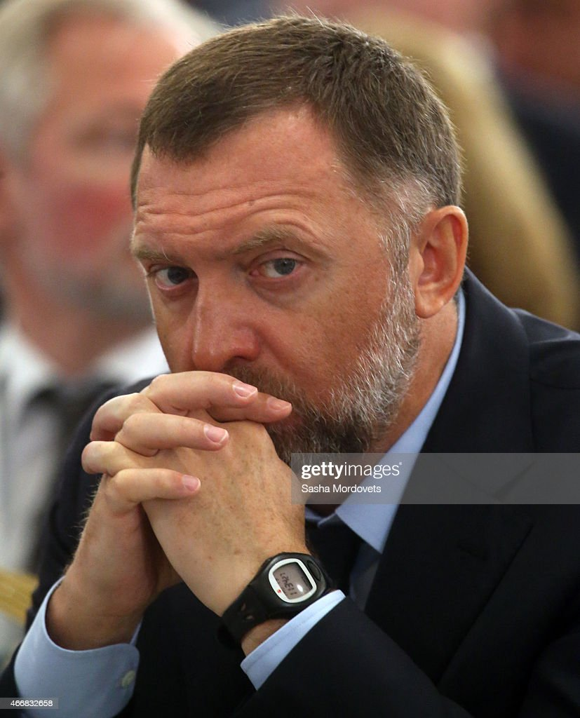 Russian billionaire and businessman Oleg Deripaska attends the congress of Russian Union of Industrialists and Entrepreneurs on March 19 2015 in...