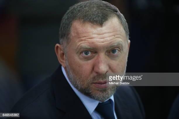 Russian billionaire and businessman Oleg Deripaska attends the meeting on sport development in the region on March 1 2017 Krasnoyarsk Russia Putin is...