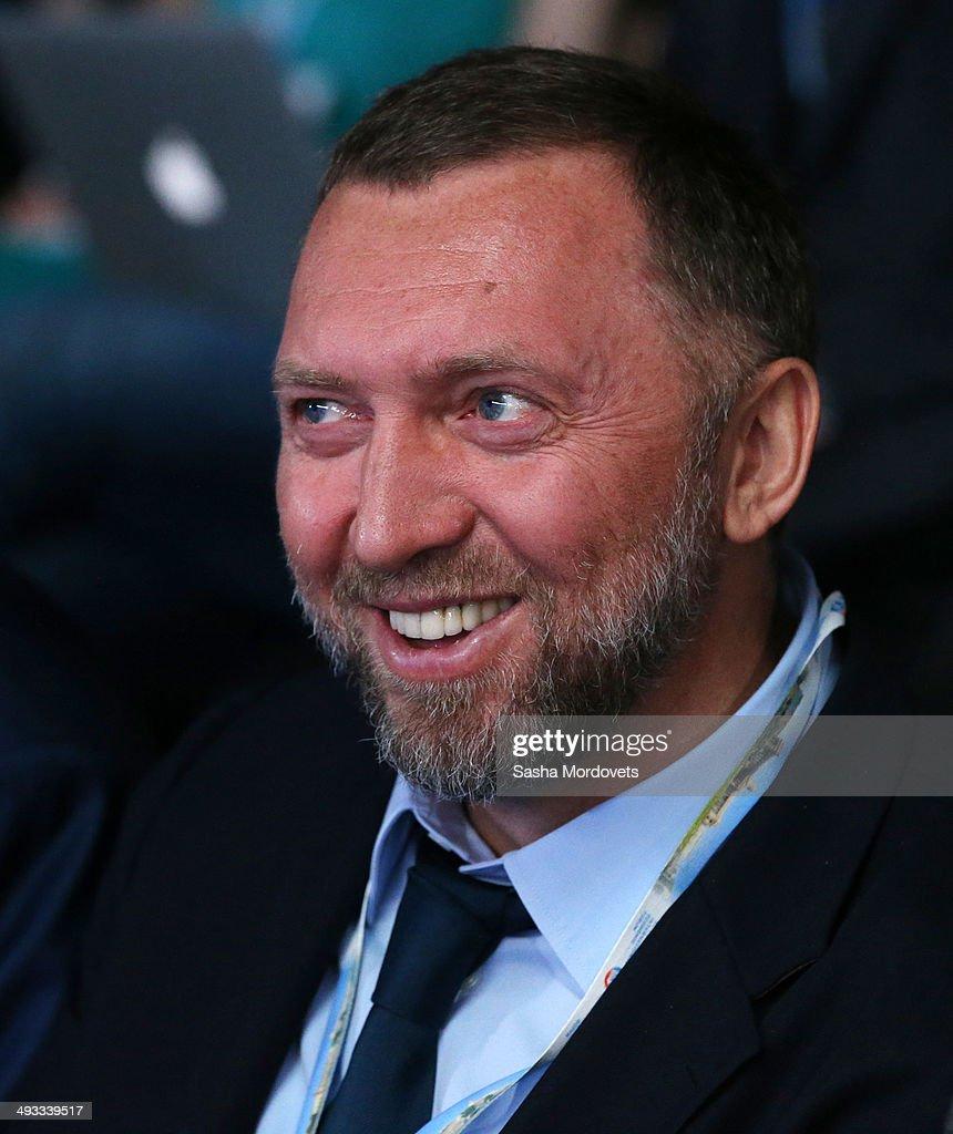 Russian billionaire and businessman Oleg Deripaska attends the Saint Petersburg International Economic Forum on May 23 2014 in Saint Petersburg Russia