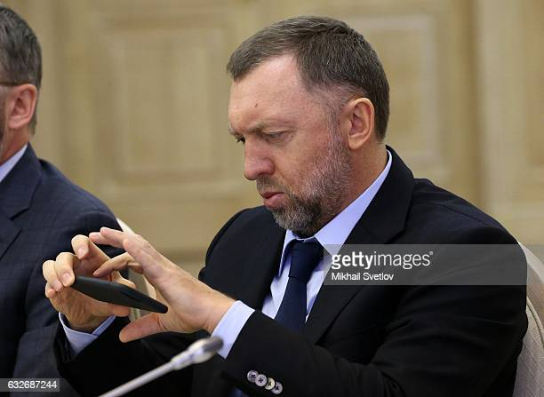 Russian billionaire and businessman Oleg Deripaska attends the meeting with board of trustees of Lomonosov Moscow State University in Moscow Russia...