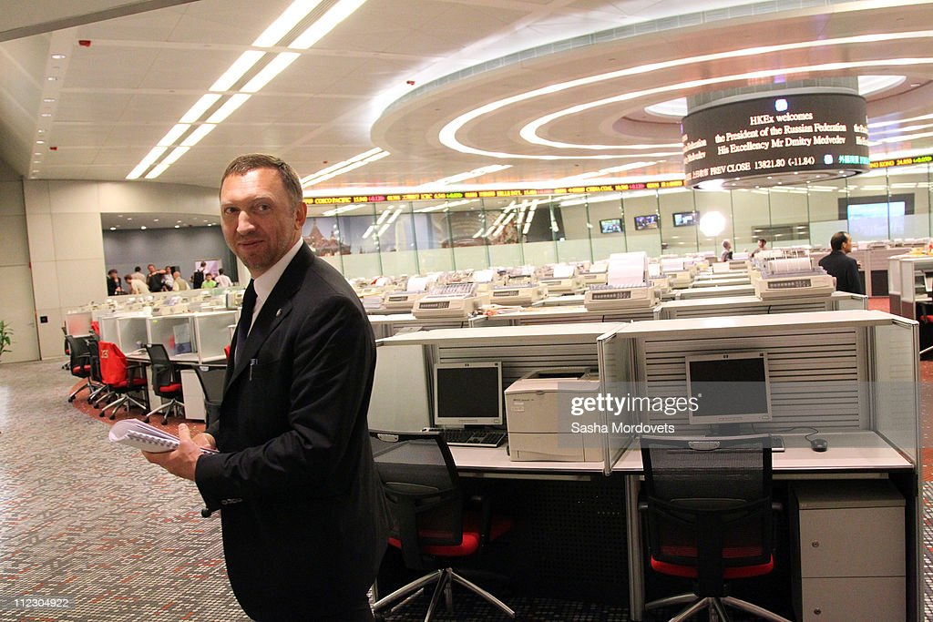 Russian billionaire and businessman Oleg Deripaska visits the Hong Kong Stock Exchange on April 17 2011 in Hong Kong China Deripaska and Russian...