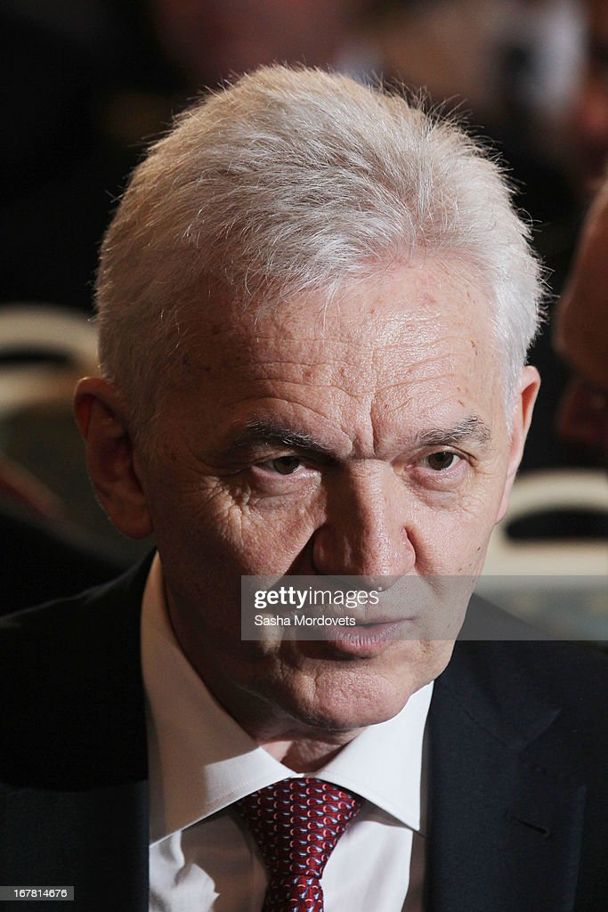 Russian billionaire and oil trader Gennady Timchenko attends the Supervisory Council of the Russian Geographical Society in Konstantin Palace April, 30, 2013 in Strelna, near St. Petersburg, Russia. Russian President Vladimir Putin is on a three-day trip to St. Petersburg.