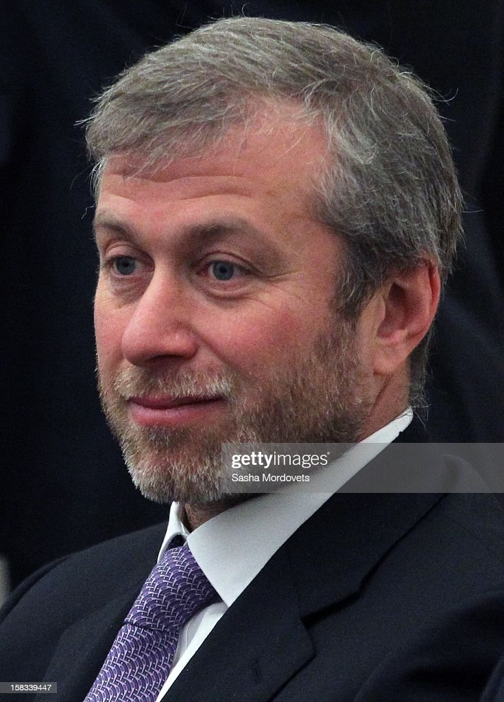 Russian billionaire, businessman and politician <a gi-track='captionPersonalityLinkClicked' href=/galleries/search?phrase=Roman+Abramovich&family=editorial&specificpeople=208953 ng-click='$event.stopPropagation()'>Roman Abramovich</a> attends a meeting of lawmakers where Russian President Vladimir Putin was speaking in the Kremlin December 13, 2012 in Moscow, Russia. Putin has described as 'unfriendly' a U.S. bill that imposes sanctions on Russian officials accused of human rights violations.
