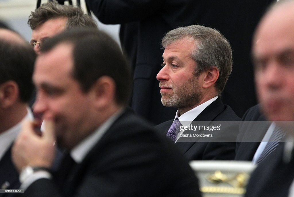 Russian billionaire, businessman and politician Roman Abramovich attends a meeting of lawmakers where Russian President Vladimir Putin was speaking in the Kremlin December 13, 2012 in Moscow, Russia. Putin has described as 'unfriendly' a U.S. bill that imposes sanctions on Russian officials accused of human rights violations.