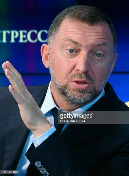 Russian billionaire Oleg Deripaska who heads aluminium producer Rusal attends the St Petersburg International Economic Forum in Saint Petersburg on...