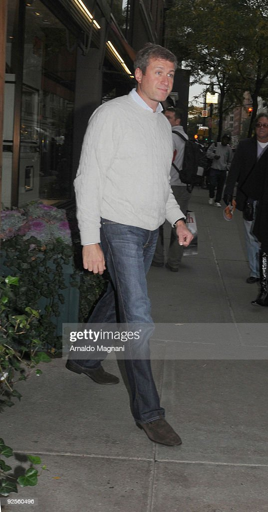 Russian billionaire <a gi-track='captionPersonalityLinkClicked' href=/galleries/search?phrase=Roman+Abramovich&family=editorial&specificpeople=208953 ng-click='$event.stopPropagation()'>Roman Abramovich</a> appears after lunch at the restaurant Nello's on October 30, 2009 in New York City.