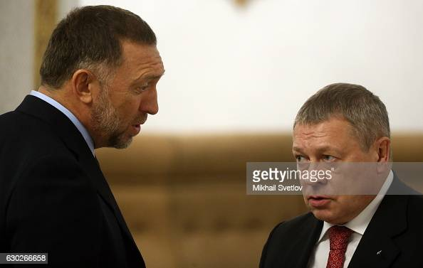 Russian billionaires and businessmen Oleg Deripaska and Igor Zyuzin attend the meeting with representatives of business community and business...