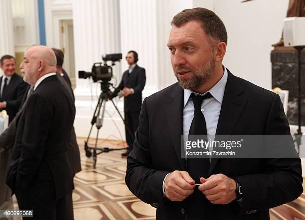 Russian billionaires and businessmen Oleg Deripaska and Viktor Vekselberg attends a meeting with Russian President Vladimir Putin in the Kremlin on...