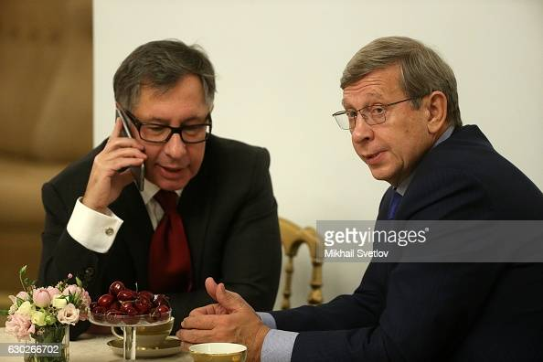 Russian billionaires and businessmen Pyotr Aven and Vladimir Yevtushenkov attend the meeting with representatives of business community and business...