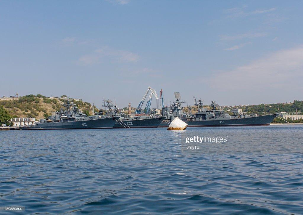 Russian Black Sea Fleet in the port : Stock Photo