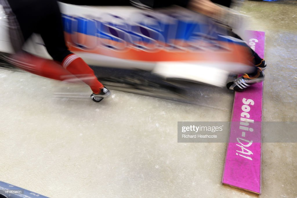 A Russian bobsleigh takes off during a practice run at the Sanki Sliding Centre in Krasnaya Polyana on February 13, 2013 in Sochi, Russia. Sochi is preparing for the 2014 Winter Olympics with test events acroos all the venues.