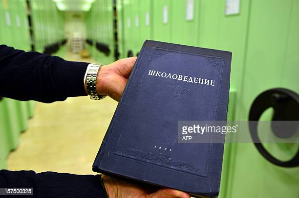 A Russian book is displayed in the library of the Vatican's Gregorian University on November 14 2012 in Rome The Jesuit university founded in 1551 by...