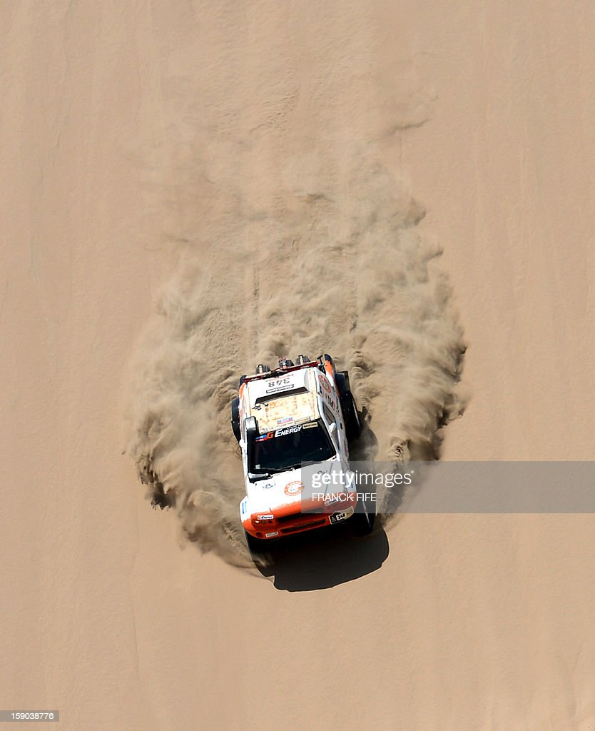 Russian Boris Gadasin drives his G-Force Proto during the Stage 2 of the Dakar 2013 in Pisco, Peru, on January 6, 2013. The rally will take place in Peru, Argentina and Chile from January 5 to 20.
