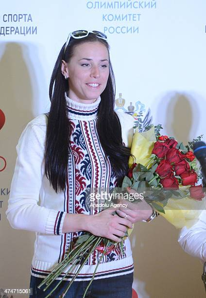 Russian bronze medalist and speed skater Yekaterina Lobysheva attends the welcome ceremony at Sheremetyevo International Airport in Moscow Russia on...