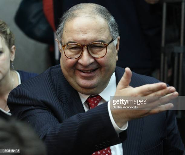 Russian businessman and billionaire Alisher Usmanov attends the openings of the Russia Geographical Society new headquarters on January 15 2013 in...