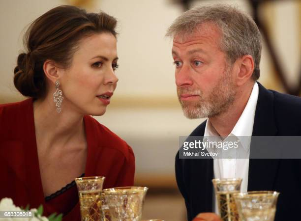 Russian businessman and billionaire Roman Abramovich listens to Polina Deripaska wife of billionaire Oleg Deripaska during the reception at the Grand...