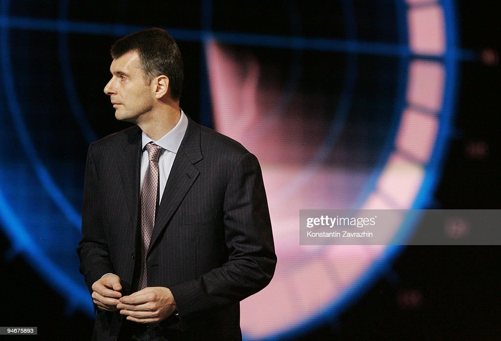 Russian businessman and billionnaire Mikhail Prokhorov attends a meeting at Moscow's Olympiisky Stadium on December. 17, 2009 in Moscow, Russia. President Medvedev visited the first awards ceremony for young Russians during a youth forum in Moscow.